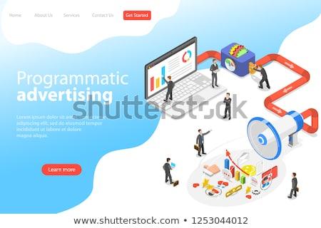 Flat isometric vector landing page template of programmatic advertising. Stock photo © TarikVision