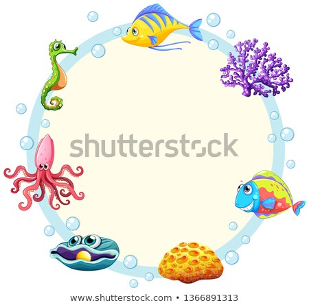 Cute sea creature border Stock photo © colematt