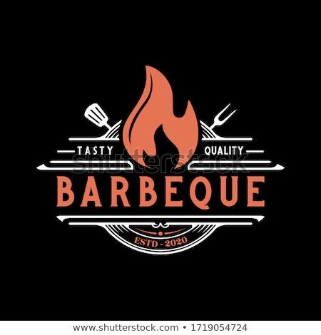 Címke logo étterem grill BBQ barbecue Stock fotó © FoxysGraphic