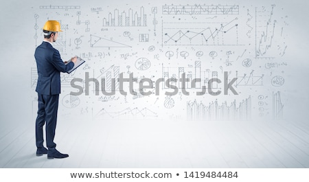 Foto stock: Comprimido · ferramentas · diagrama · construção · chave · tela