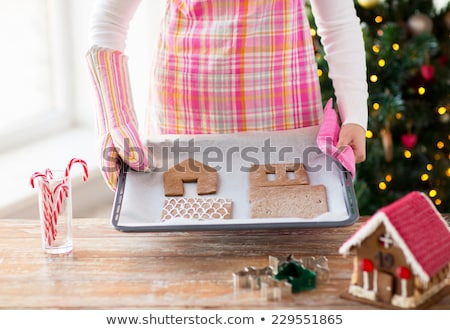woman with gingerbread house parts on oven tray stock photo © dolgachov