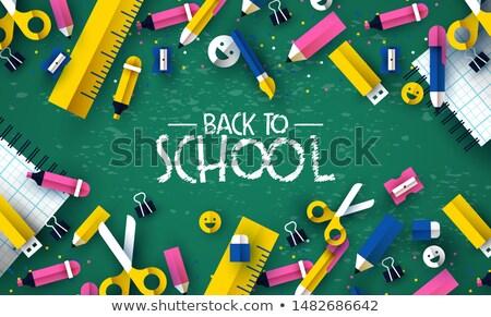 Stockfoto: Terug · naar · school · kid · krijt · boord · kaart