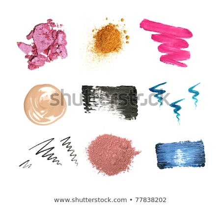Lipstick smudge, mascara stroke and crushed eyeshadow isolated o Stock photo © Anneleven