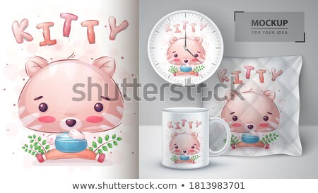 Cute poesje poster vector eps 10 Stockfoto © rwgusev