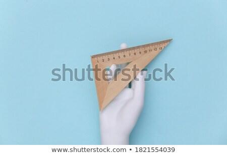 Mano triangolo righello fornire in bianco e nero Foto d'archivio © yupiramos