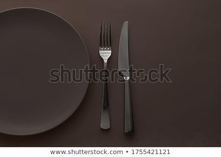 Boş plaka çatal bıçak takımı ayarlamak kahverengi Stok fotoğraf © Anneleven