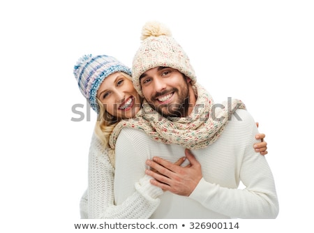 Cheerful young bearded man wearing warm sweater Stock photo © deandrobot