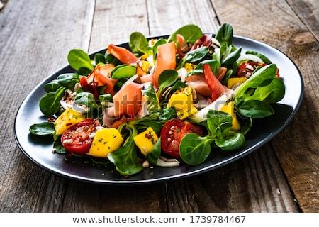 vers · vruchten · salade · ham · tomaten · diner - stockfoto © ilolab
