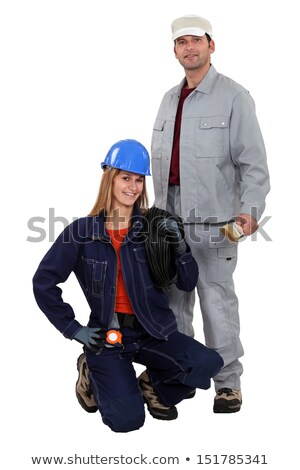 Electrician kneeling by painter Stock photo © photography33