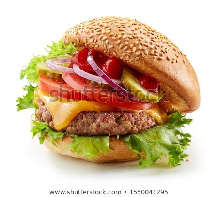 Hamburguesa con queso aislado blanco alimentos carne ensalada Foto stock © moses