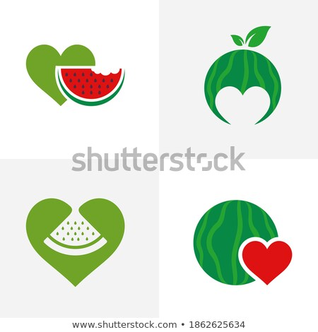 Vektör taze yeşil afişler tatlı kalp Stok fotoğraf © vitek38