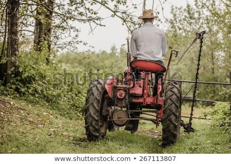 veld · agrarisch · machines · Rood · trekker · hemel - stockfoto © lunamarina
