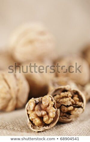 Walnuts Close-up On The Sackcloth Background  Stock photo © ryhor