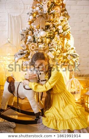 Charming lady playing with the pony Stock photo © konradbak
