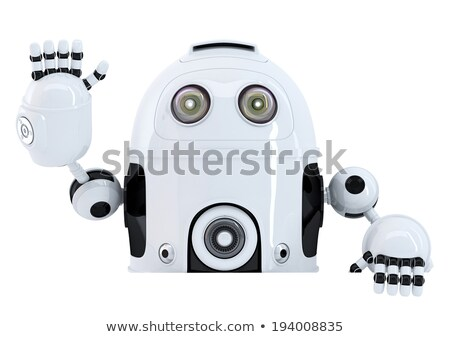 robot holding blank banner and waving hello isolated contains clipping path stock photo © kirill_m