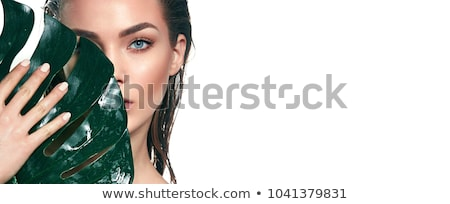 mujer · verde · vestido · descalzo · aislado · blanco - foto stock © smithore