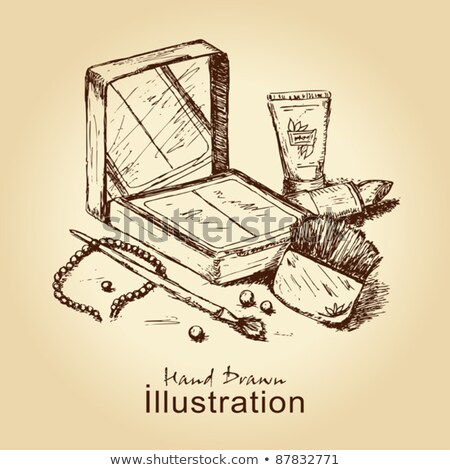 Stock photo: Sketch powder compact in vintage style
