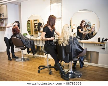 salão · de · beleza · situação · adulto · homem · mulher · espelho - foto stock © gemenacom