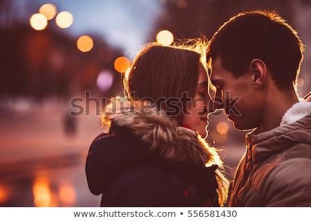Photo stock: Portrait · séduisant · baiser · couple · jeunes · femme