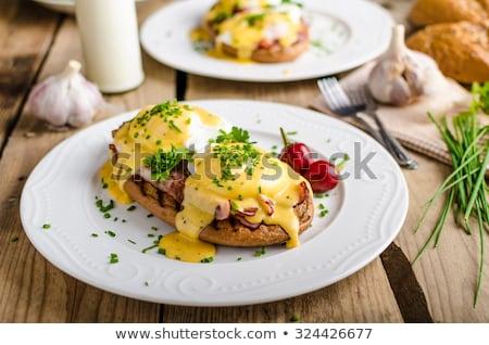 yumurta · tost · jambon · sos · bıçak · ekmek - stok fotoğraf © msphotographic