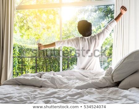 férfi · felfelé · reggel · portré · jóképű · férfi · otthon - stock fotó © deandrobot