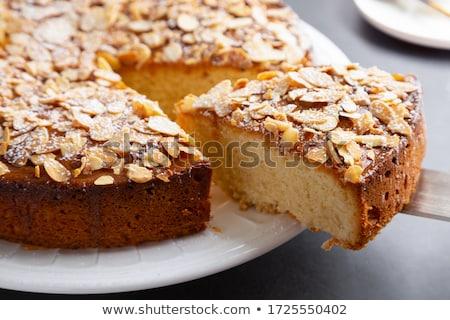 миндаль торт Ломтики сахарная пудра завтрак вилка Сток-фото © Digifoodstock