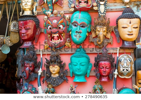 Masks, dolls and souvenirs in street shop at Durbar Square in Ka Stock photo © Mariusz_Prusaczyk