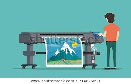 принтер зеленый вектора икона дизайна цифровой Сток-фото © rizwanali3d