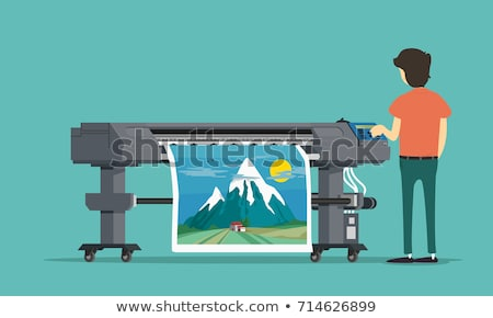 printer green vector icon design stock photo © rizwanali3d