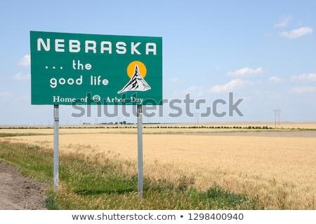 Nebraska üdvözlet felirat ködös nap Stock fotó © benkrut