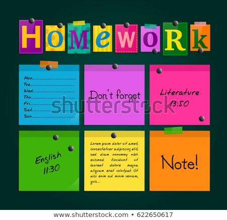 宿題 · 文字 · 帳 · オフィス · ツール · 木製のテーブル - ストックフォト © fuzzbones0