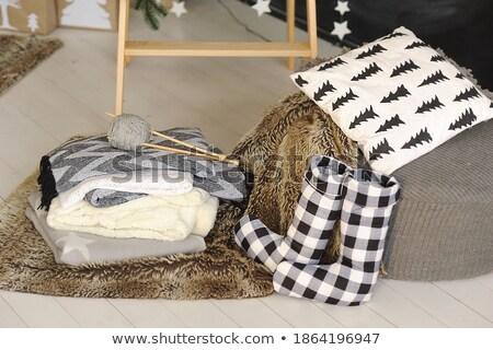 Karácsony zokni ajándék illusztráció tájkép jég Stock fotó © adrenalina