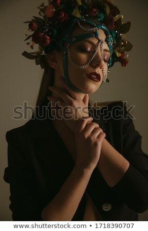 Divat nő tökéletes bőr visel drámai Stock fotó © zdenkam