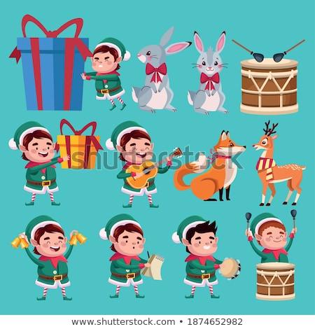 Mascotte muziek konijn dier illustratie cute Stockfoto © lenm