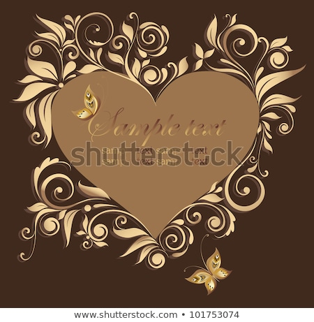 gold frame scroll with heart Stock photo © blackmoon979