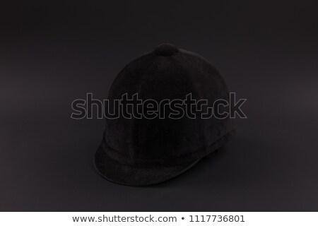 Jóquei preto capacete isolado branco esportes Foto stock © boggy