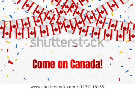 Canada garland flag with confetti on transparent background, Hang bunting for celebration template b Stock photo © olehsvetiukha