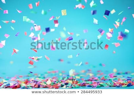 Confettis anniversaire cadre oiseau espace Photo stock © anastasiya_popov