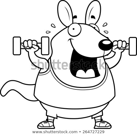 Cartoon Wallaby Dumbbells Stock photo © cthoman