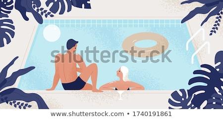 Cartoon улыбаясь человека купальник счастливым Сток-фото © cthoman
