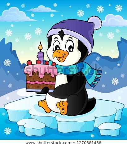 Stock fotó: Pingvin · tart · torta · kép · tenger · születésnap