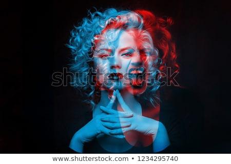 Porträt böse Frau dunkel lockiges Haar tragen Stock foto © deandrobot