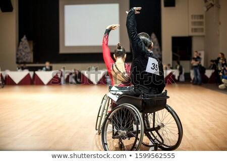 Foto stock: Menina · menino · cadeira · de · rodas · ilustração · criança · estudante