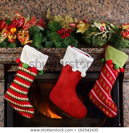 Christmas haard brandend brand sokken Stockfoto © robuart