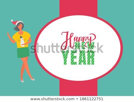 Boldog ünnepek poszter nő szoknya pulóver Stock fotó © robuart