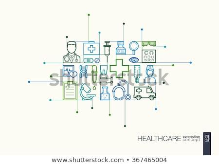 здравоохранения · синий · стетоскоп · белый · таблетки · копия · пространства - Сток-фото © neirfy