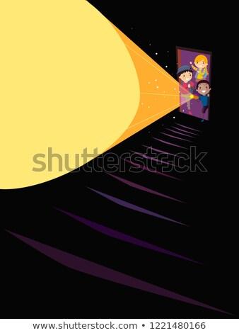 Stickman Kids Door Stairs Flashlight Illustration Stock photo © lenm