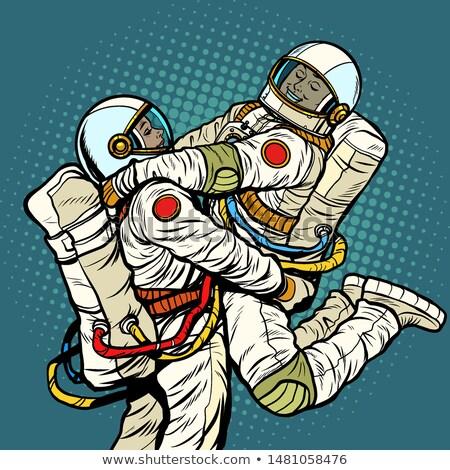 Paar liefde astronaut man vrouw romantiek Stockfoto © studiostoks