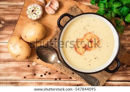 Sarımsak çorba patates gıda akşam yemeği fincan Stok fotoğraf © joannawnuk