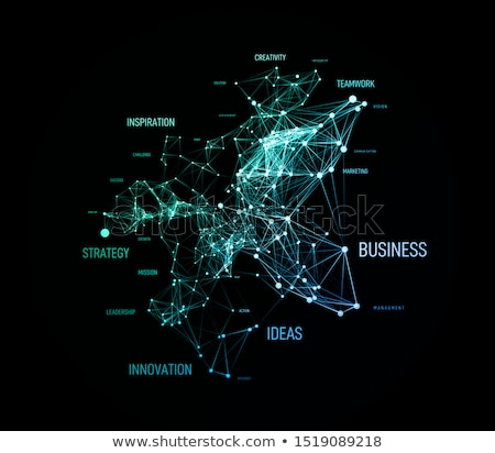 Big data concept in word tag cloud with plexud dot and line connection. Vector geometric background Stock photo © m_pavlov